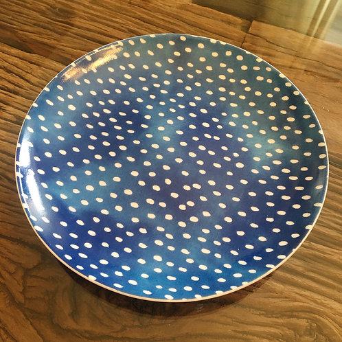 Porzellanteller 'White Dots' - Blau