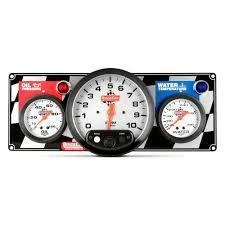"Quickcar 2 Gauge Panel OP/WT - 3 3/8"" Tach- black or flag"