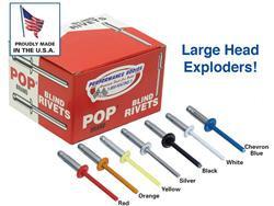 "POP Rivets - LARGE Head (3/16"" Exploding Rivet)-box of 250 multiple colors"