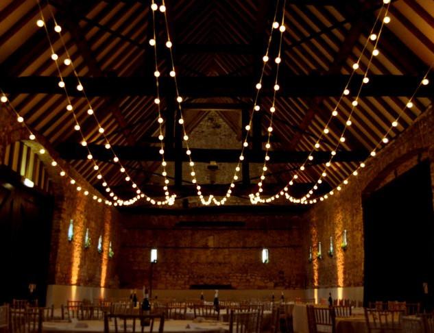 Festoon Lights in Wedding Barn
