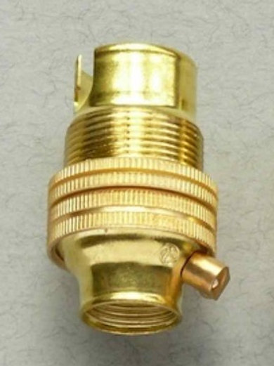 Brass SBC Lampholder With Shade Ring.