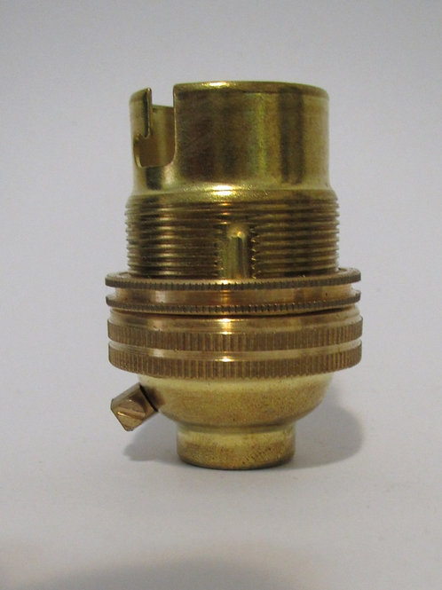 Brass BC Lamp Holder With Shade ring. 13mm Entry