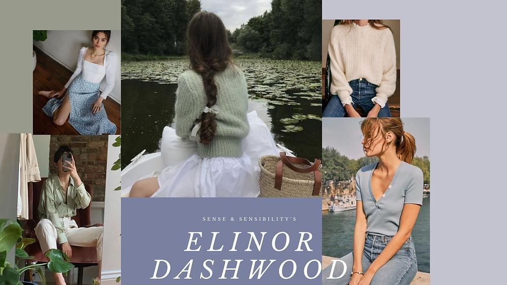 Collage of style photos based on the character Elinor Dashwood from Sense and Sensibility