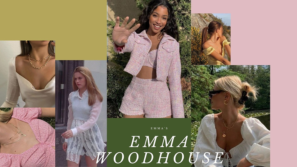A collage of style photos based on the character Emma Woodhouse from Emma