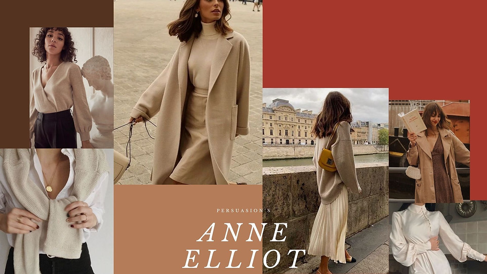 A collage of style photos based on the character Anne Elliot from Persuasion