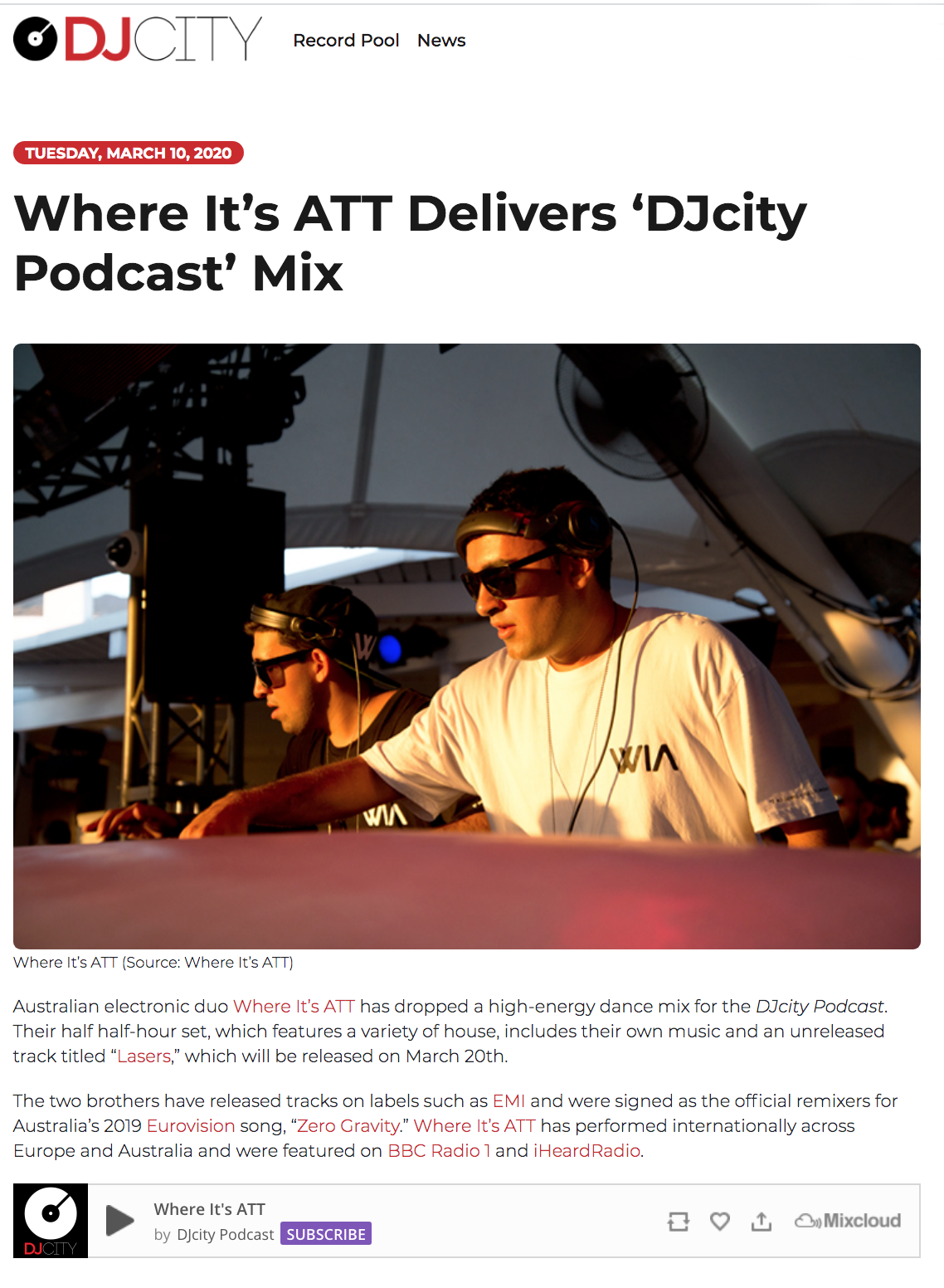 Where It's ATT Delivers 'DJcity Podcast' Mix