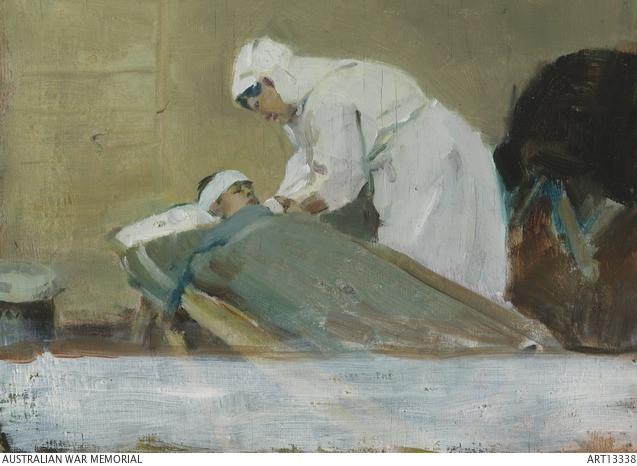 Nurse and patient, 3rd Australian CCS, Frank Crozier, France, c. 1918, oil on wood panel, 23.8 x 27.4 cm. AWM ART13338