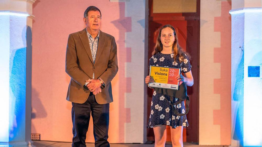 """Kiana Gwyn receiving """"Highly Commended"""" award from Bunbury Mayor Gary Brennan."""
