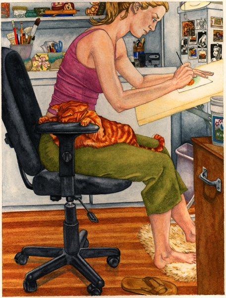 Self Portrait At Desk