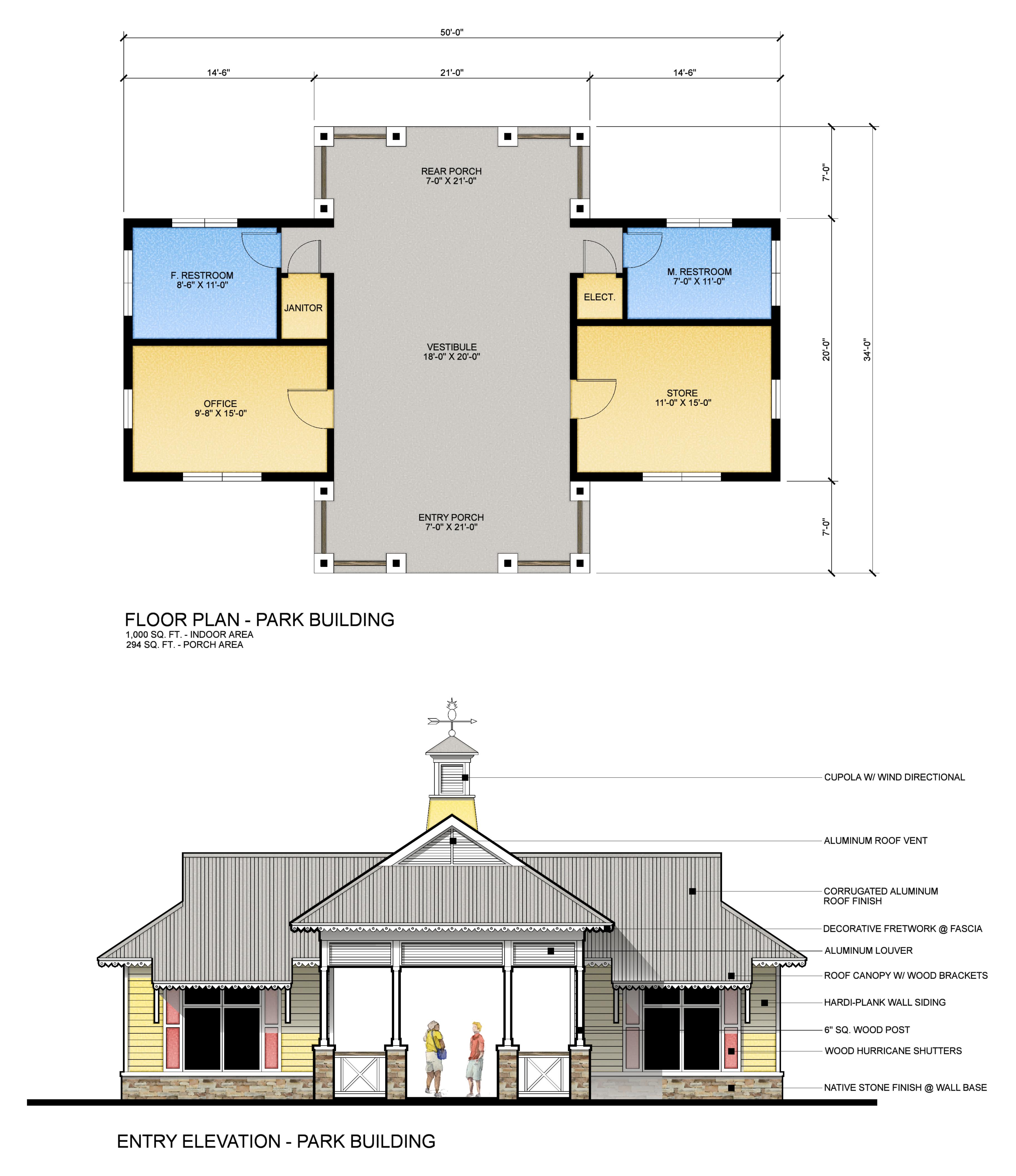 Park Building Plan & Elevation