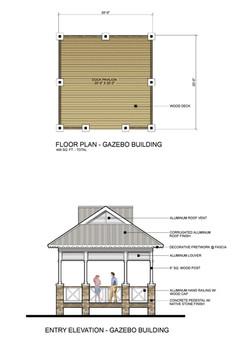 Gazebo Building Plan & Elevation