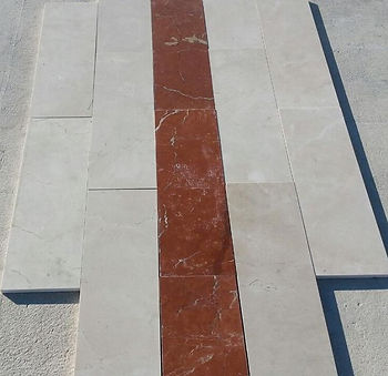 Stock marmo crema marfil e rojo alicante 20 x 60 x 2 cm lucido selezionato