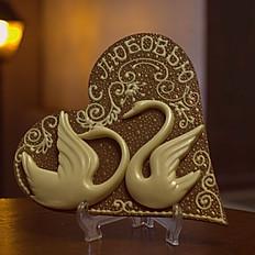 открытка Сердце и Лебеди