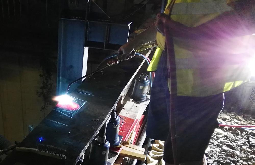 Flammrichten Stahltragwerk Instandsetzung nach Anfahrschaden