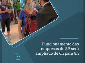 Funcionamento das empresas de SP será ampliado de 6h para 8h