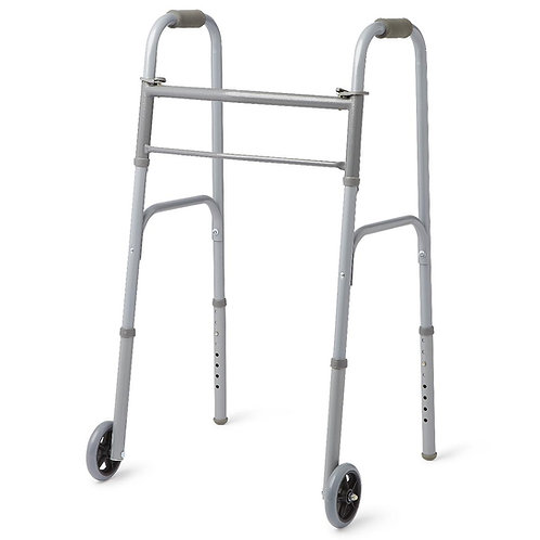 """Medline Two-Button Folding Walkers with 5"""" Wheels"""