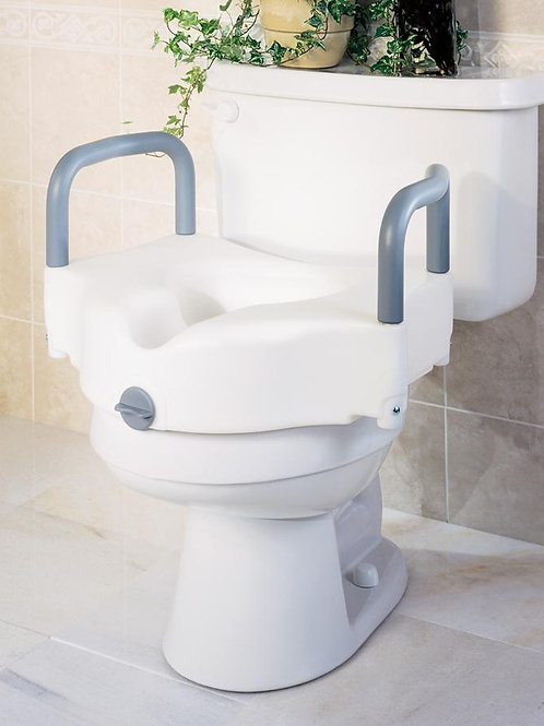 Medline Locking Raised Toilet Seat w/Arms