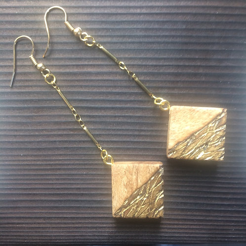 Char maple and gold earrings - long