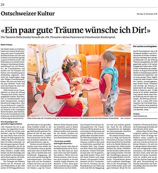 Tänzerin Hella Immler besucht als Dr. Pirouette Patienten mi Ostschweizer Kinderspital