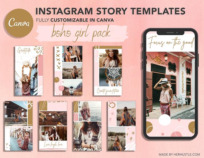 8x Boho Girl Pack - Instagram Story Templates