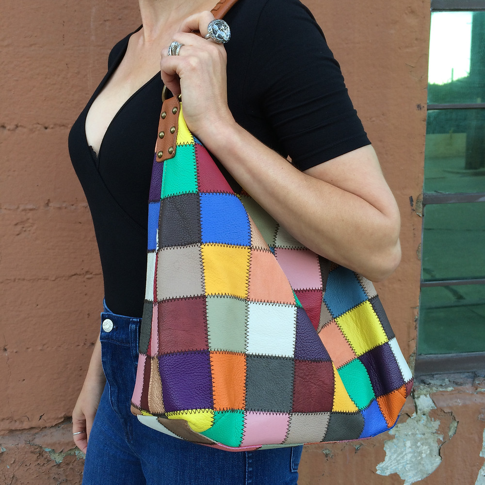 Patchwork hobo bag.