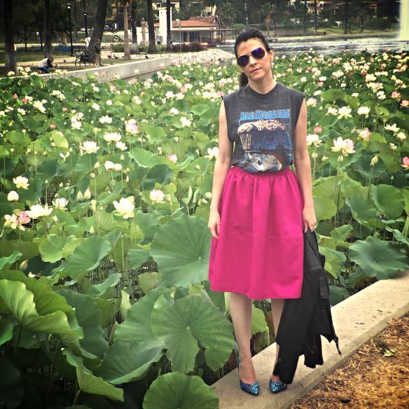 Vintage Rocker Tee, Pink Skirt & Blooming Lotus Flowers