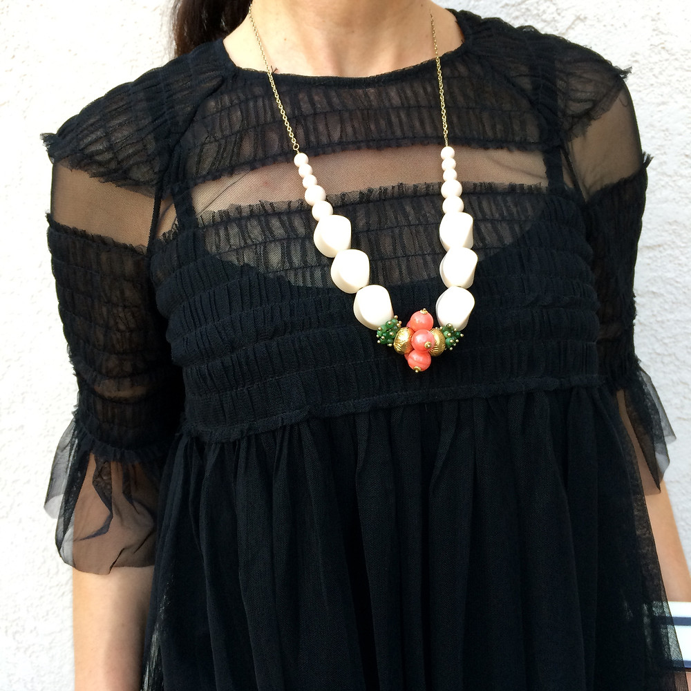 black tulle top and Goodwill neklace