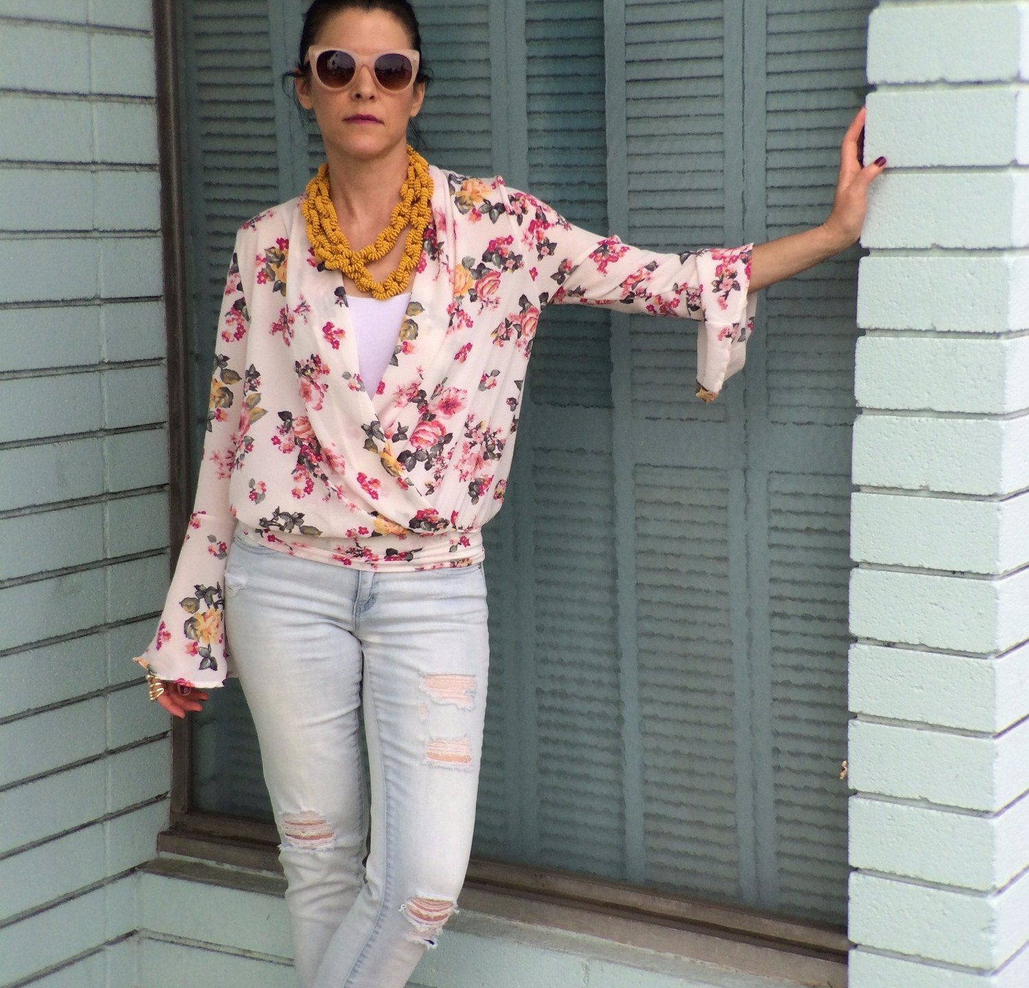 with a pink floral top