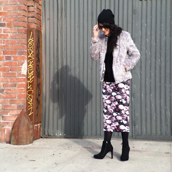 OOTD ... Grey Faux Fur and a Dark Floral Midi Skirt