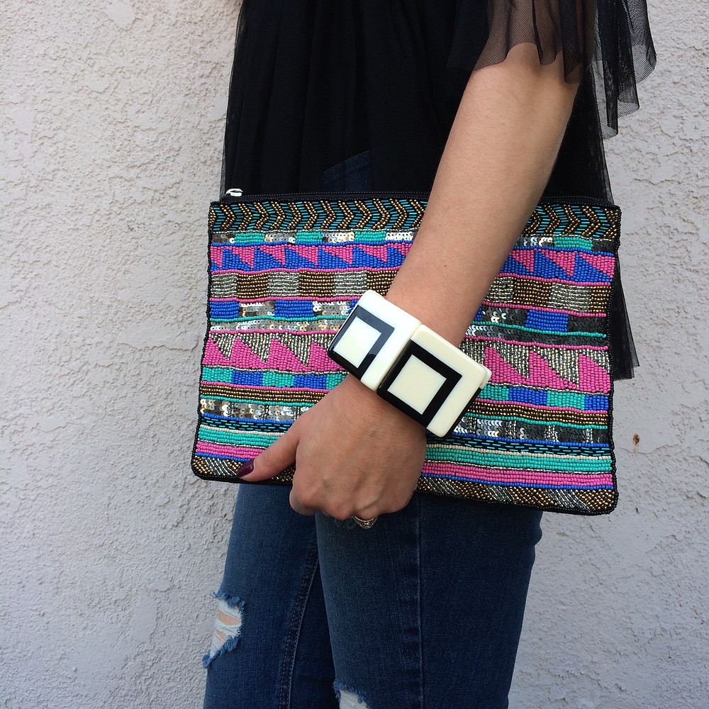 A fun tribal clutch