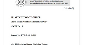 USPTO issues May 2016 update on Subject Matter Eligibility