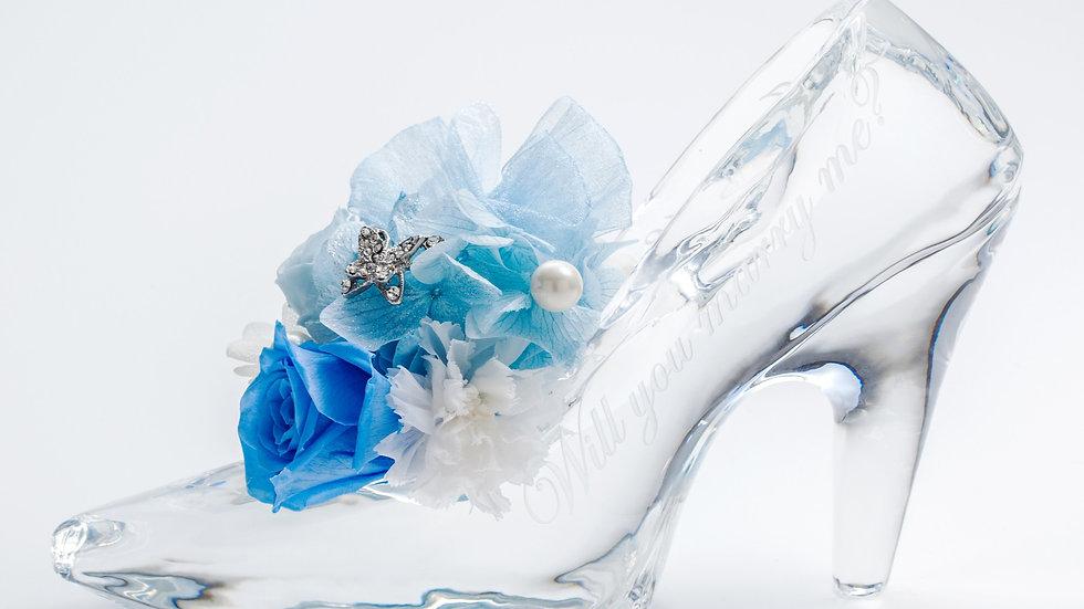 クリスタルガラスの靴プリザーブドフラワー(ブルー)