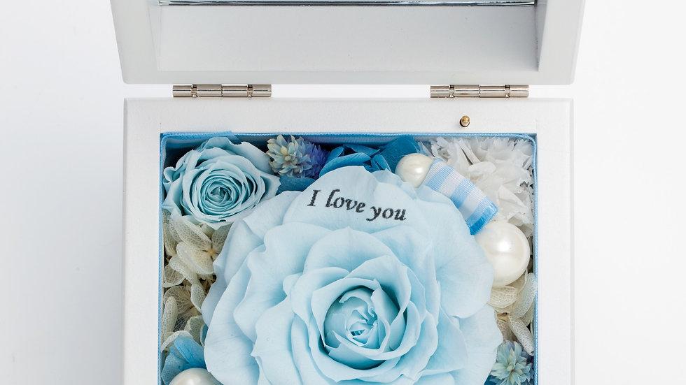 高級ホワイトオルゴールBOX お花イッパイ!プリザーブドフラワー【ブルー】