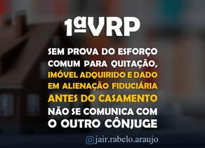 1ªVRP-SP – Sem prova do esforço comum para quitação, imóvel adquirido e dado em alienação fiduciári