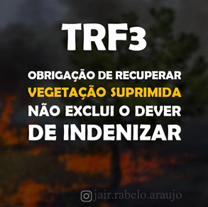 TRF3 – Obrigação de recuperar vegetação suprimida não exclui o dever de indenizar.
