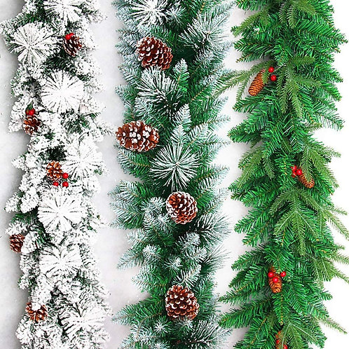 LX 270 X 30 cm Snow King Fir Garland with Pine Cones Christmas Garlands for Stai