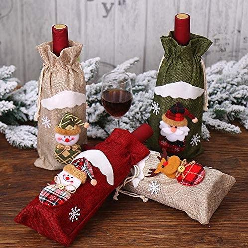 4 PCS Christmas Wine Bottle Cover, 4Pcs Snowman Santa Claus Xmas Wine Bottle Co