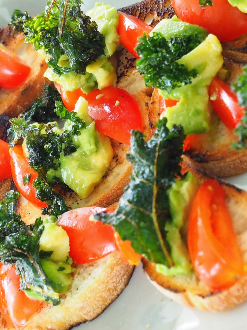 Avocado Bruschetta Smashed Avocado Kale Crisps & Confit Tomato (Vegan)