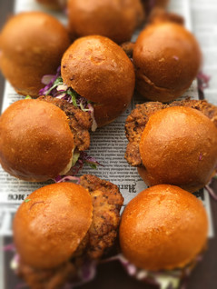 DFC Brioche Sliders Daddy's Fried Chicken Marinated In Buttermilk Then Dusted With His Secret Herb & Spice Blend