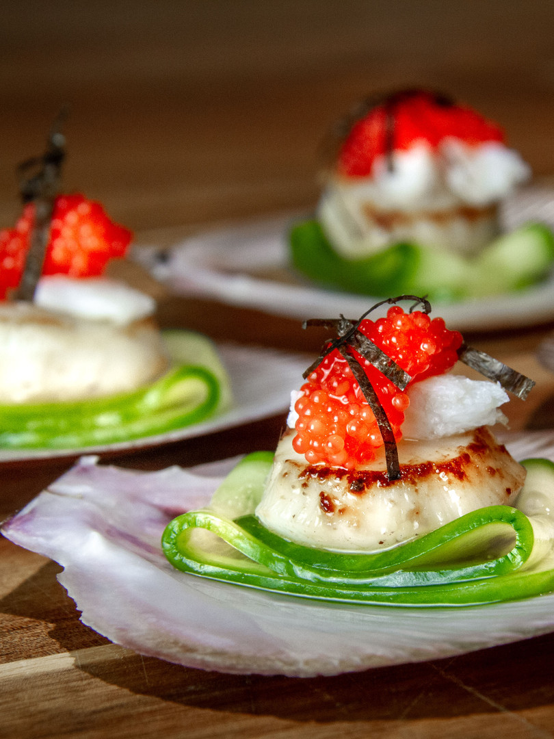 Scollops With Pickled Cucumber And Caviar