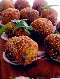 Mushroom AranciniThyme & Pecorino Cheese Rolled In Polenta (GF)(V)