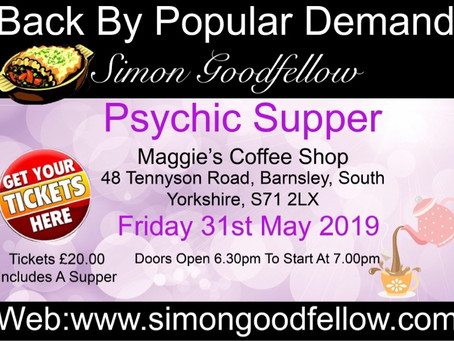 Psychic supper in Barnsley book today