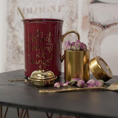 European Style Nodic Ceramic Mug with Gold Stainless Steel Stirrrer