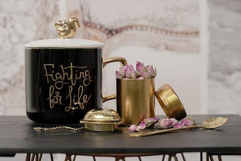European Style Ceramic Mug with Squirrel Cover Lid