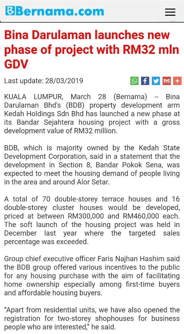 BERNAMA.COM: BINA DARULAMAN LAUNCHES NEW PHASE OF PROJECT WITH RM32 MILLION GDV