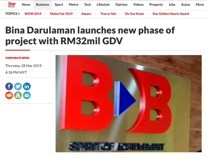 BINA DARULAMAN LAUNCHES NEW PHASE OF PROJECT WITH RM32M MILLION GDV