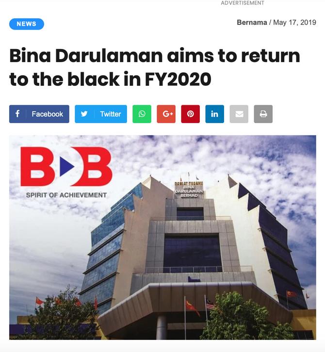 Bina Darulaman Aims To Return To The Black In FY2020