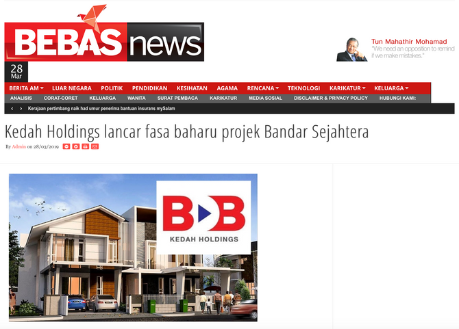 KEDAH HOLDINGS LANCAR FASA BAHARU PROJEK BANDAR SEJAHTERA