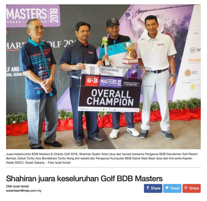 Shahiran juara keseluruhan Golf BDB Masters 2018