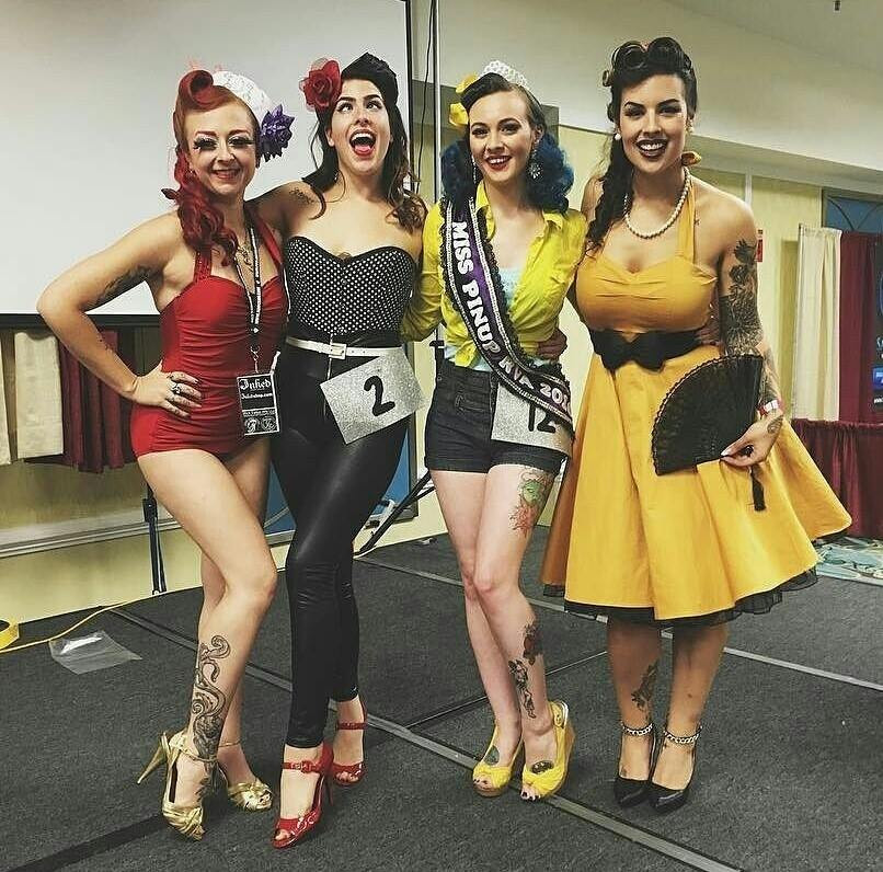 Miss Pinup RVA Top 3, 2016. L to R: Deanna Danger, Violet Devereaux 2nd runner up, Bonnie de Lovely, Tricia Figgy Atkinson 1st runner up.